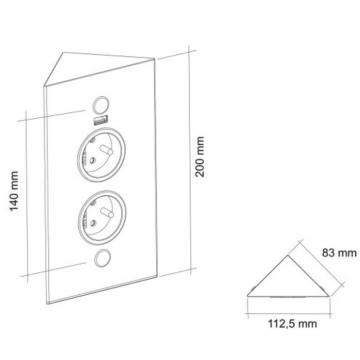 bloc 2 prises d'angle + USB noir mat schéma