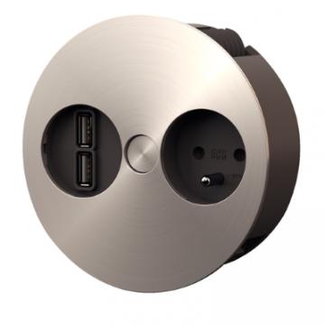 Bloc 1 prise + chargeur USB double TWIST
