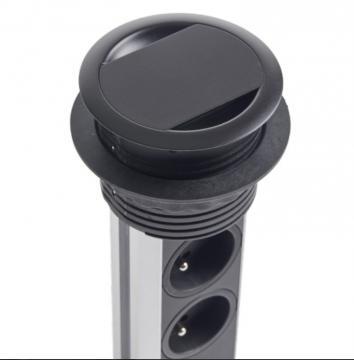 Bloc 3 prises + 2 USB Escamotable BRICK / noir mat