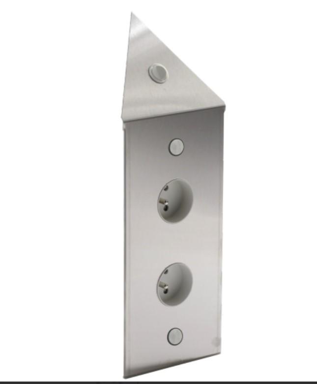 bloc 2 ou 3 prises interrupteur d 39 angle inox bross. Black Bedroom Furniture Sets. Home Design Ideas