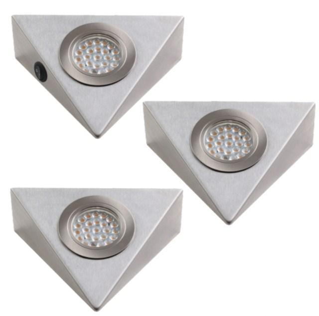 kit 3 spots led triangle avec interrupteur msa kl3007 i. Black Bedroom Furniture Sets. Home Design Ideas