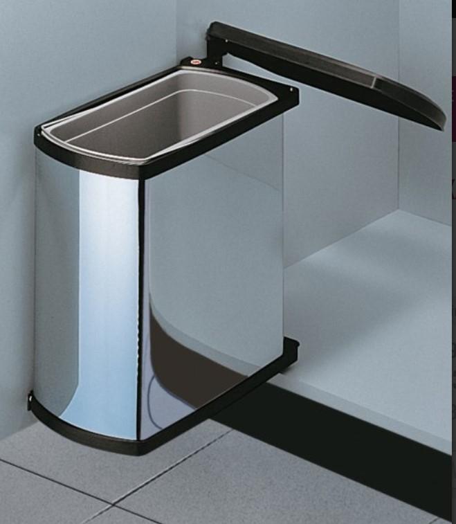 poubelle ouverture auto 1 bac 18 litres inox et noir les accessoires de la cuisine. Black Bedroom Furniture Sets. Home Design Ideas